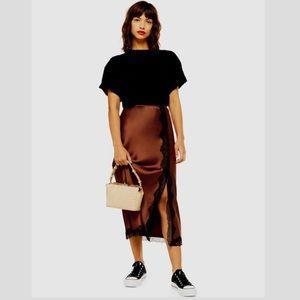 Topshop Lace Trim Satin Bias Midi Skirt